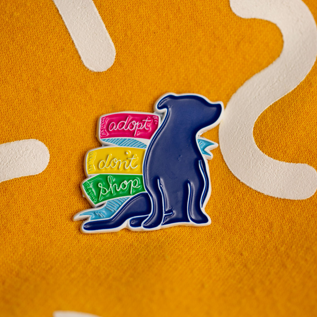 ADOPT DON'T SHOP Pikelet Silhouette, Soft Enamel Pin