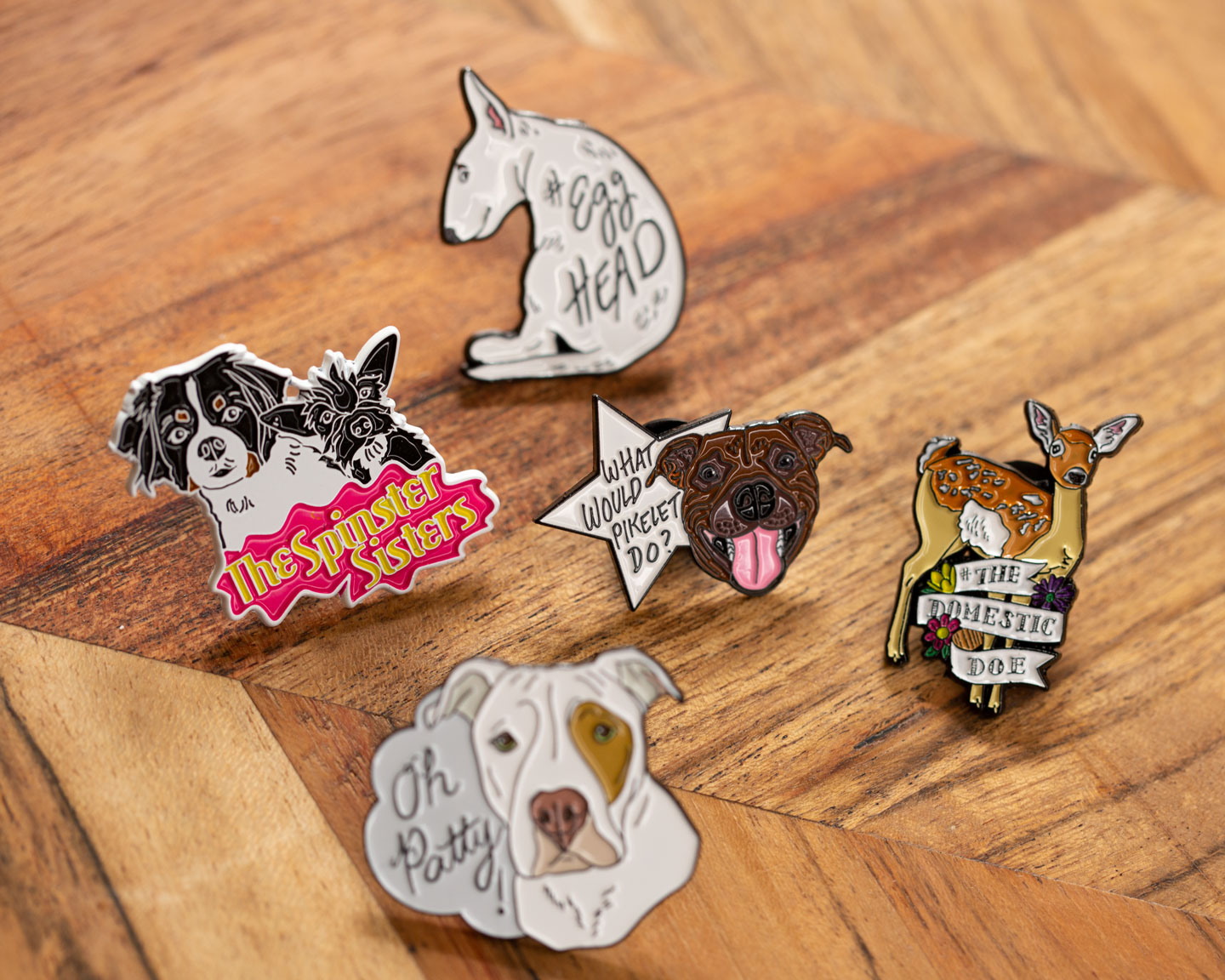 "Collector's 5 Of First Generation ""Life Of Pikelet"" Enamel Pins"